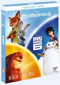 Pack Chicos: Zootrópolis + Big Hero + Rey Leon